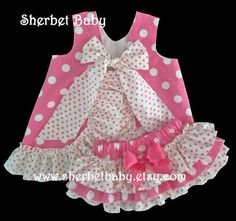 Items similar to Hot Pink Polka Dots Ruffled Pinafore Set Sa.- Items similar to Hot Pink Polka Dots Ruffled Pinafore Set Sassy Pants Ruffle Diaper Cover Bloomer on Etsy Hot Pink Polka Dots Ruffled Pinafore Set Sassy by SherbetBaby - Baby Outfits, Little Girl Dresses, Kids Outfits, Baby Dresses, Fashion Kids, Ruffle Diaper Covers, Baby Dress Design, Frock Design, Baby Frocks Designs