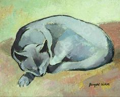 Chat Endormi, sleeping cat, jl nam, cat watercolor