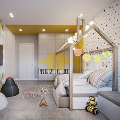 26 Adorable Kid Room Decor Ideas to Make Your Children's Space Fun - Di Home Design Baby Bedroom, Girls Bedroom, Small Room Bedroom, Kids Room Design, Home Design, Cool Kids Rooms, Cool Beds, Home Interior, Interior Livingroom