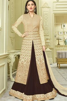 Beige Art Silk Anarkali Suit Price - £88.00 Occasion	Party Wear, Wedding Wear, Festival Wear, Ceremonial Color	Beige, Brown Fabric	Net, Chiffon, Silk Discount	No Work	Embroidered, silk thread, Stone Time To Ship:	10 to 12 working days #salwarkameez #fashion #trendy #collection #pretty #gorgeous #ethnic #wedding #londonfashion #design #designer #anarkali #fashionable  #shopkund