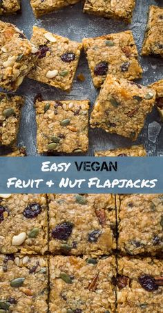 Vegan fruit and nut flapjacks - easy vegan oaty flapjacks (oat cookie bars) filled with dried fruits, nuts and seeds. Perfect for snacking, lunchboxes and hiking! Vegan Junk Food, Vegan Snacks, Vegan Desserts, Healthy Snacks, Vegan Recipes, Snack Recipes, Cooking Recipes, Vegan Baking, Healthy Baking