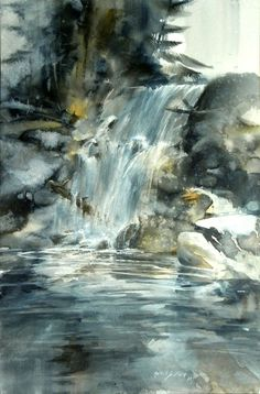 Moonlit Falls watercolor by Morten E Solverg