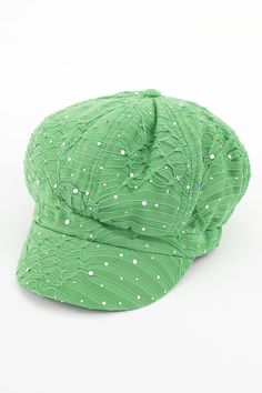 Dressing Your Truth - Type 1 Bright Spot Hat   This fun news-boy style hat in bright green is a cute and casual way to create a great Type 1 look. For an added pop pin on your favorite flower or brouch.        100% Polyester      22 inch band, circumference      3 inch elastic band in back for a comfortable fit