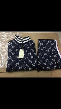 4ba0cb78875 Gucci 2018 New Style Cotton Tracksuit GG Jacket Pants Blue/white