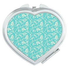 Lovely Aqua and Cream Floral --   Soft, feminine aqua and cream #floral makes this #compact stand out. Please feel free to change style of product or color of trims and borders. Created By bagboutique