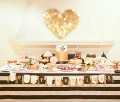 100layercake blog de casamento - decoracao listras preto branco dourado