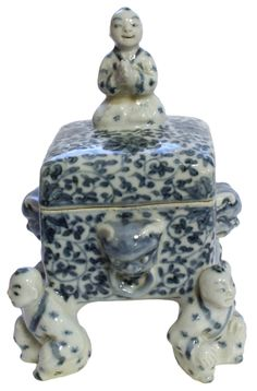 Chinese Ming Dynasty Blue & White Porcelain Box.