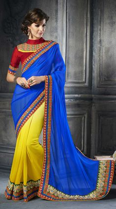 embroidered-yellow-and-blue-satin-half-and-half-saree-with-red-blouse-