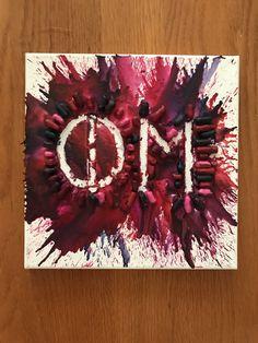 Custom Pink and Purple Phi Mu Crayon Canvas Alpha Xi Delta, Tri Delta, Sigma Kappa, Phi Mu Canvas, Sorority Canvas, Phi Mu Crafts, Sorority Crafts, Crayon Canvas, Big Little Canvas