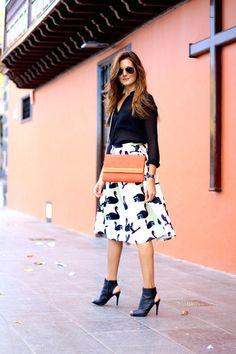 romwe skirt - Mango boots - H&M bag - Zara blouse