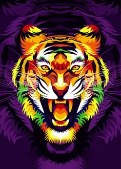 Find Colorful Tiger Head Dark Purple Background stock images in HD and millions of other royalty-free stock photos, illustrations and vectors in the Shutterstock collection. Thousands of new, high-quality pictures added every day. Dark Purple Background, Tiger Poster, Tiger Illustration, Tiger Wallpaper, Tiger Head, Colorful Animals, Animal Posters, Purple Backgrounds, Indian Paintings