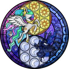 Stained Glass: Sunrise-Moonrise -Vector- -Recolor- by Akili-Amethyst.deviantart.com on @deviantART