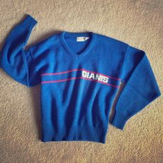 "Vintage New York NY Giants V neck Sweater NFL Awesome! Vintage wool blend retro style GIANTS sweater. ""Adult Large"" Looks super cute oversized on women Small & Medium as well. Men's Small. NFL Sweaters"