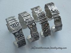 Hand fabricated sterling silver and 14k gold rustic, weathered, one of a kind oxidized cuffs, by JoDeneMoneuseJewelry