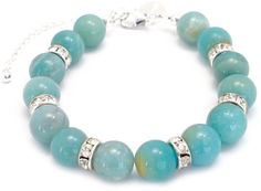 Amazonite Sterling Silver Bracelet for Trust, Clairvoyance and Prosperity.  Amazonite is also known as the stone of courage, named after the Amazon female Warriors. It is said to be a soothing stone with balancing properties, dispelling negative energy.  It may enhance intuition, creativity, intellect and psychic powers.  These Amazonite stones are a blue/green variety of microline with a silky lustre.  Www.maramaia.com