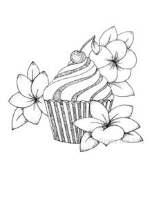 Cupcake cerise et fleurs - print - reproduction - dessin en dotwork : Dessins par cross-the-line