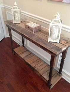 Sideboard DIY - side table and sideboard made of pallets selber bauen Sideboard DIY - side table and sideboard made of pallets - Coffee Table Furniture, Diy Side Table, Diy Sideboard, Reclaimed Wood Furniture, Diy Furniture Projects, Pallet Patio Furniture Diy, Skid Furniture, Furnishings, Wood Furniture