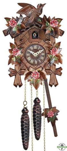 Cuckoo Clock - Quartz Traditional with Painted Roses - Engstler