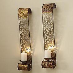 "2-Piece ""Glastonbury"" Laser-Cut Wall Candle Sconce Set"