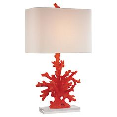 Add nautical charm to your writing desk or console table with this eye-catching lamp, showcasing a coral-inspired base with a crisp linen shade.