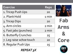 Fab arms and core upper body workout by GRIT by Brit