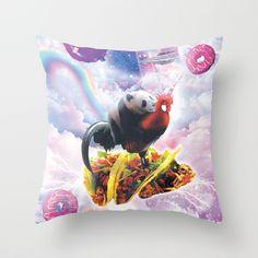 Space Panda Riding Chicken Unicorn - Taco & Donut Throw Pillow by randomgalaxy Floor Pillows, Throw Pillows, Funny Pillows, Funny Design, Trippy, Panda, Unicorn, Tacos, Chicken