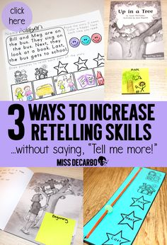 Learn 3 EASY ways to increase retelling skills in kindergarten, first grade, and second grade readers. These hands-on activities can be implemented at the small group reading table. Boost comprehension with these hands-on, visual, and tactile learning activities and lessons for students.