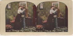 """""""The Soldier's Farewell"""" stereoview Soldier Kissing his girl goodbye, WWI"""