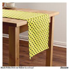 Black Polka Dots on Yellow Short Table Runner