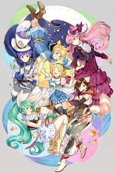Vocaloid - Megurine Luka, Kagamine Rin and Len, Kaito, Meiko, Hatsune Miku Miku Chibi, Hatsune Miku Vocaloid, Kaito Shion, Len Y Rin, Kagamine Rin And Len, Manga Anime, Anime Art, Otaku, Sakura Miku