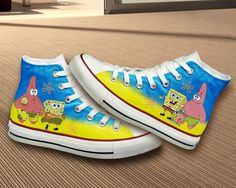 Spongebob Converse Shoes by BifrostShoes on Etsy, $75.00