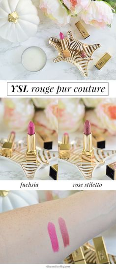 The YSL Rouge Pur Couture lipsticks are SO stunning. The formula is incredibly creamy and the colors are to. die. for. | #YSLRougePurCouture | oliveandivyblog.com