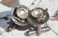 Vintage 925 Sterling Silver Cufflinks Teacup Coffee Spoon Great Falls Metalworks | eBay