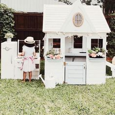 """650 Likes, 18 Comments - DesignsbyCeres (@designsbyceres) on Instagram: """"Omgggg how sweet is this little playhouse that mama @mygreyskyehome """"remodeled"""" for her girls?! It…"""""""