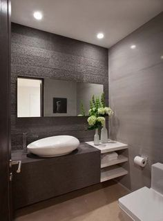 Bathroom Design, White Contemporary Powder Room Sinks With Unique Shape Design And Modern Faucet And Modern Bathroom Vanity Design And White Wonderful Vase With Beauty Flowers On It Also Minimalist Wall Design And Toilet: Powder Room Decorating Ideas at Y Powder Room Sink, Bathroom Vanity Designs, Minimalist Bathroom Design, Powder Room Decor, Modern Bathroom Vanity, Beautiful Bathrooms, Vanity Design, Bathroom Design Small, Small Bathroom Remodel