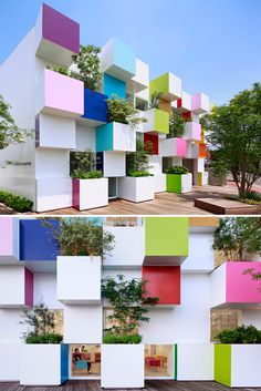 Trees sprout out of the rainbow-coloured cubes that make up the facade of this bank in northern Tokyo – the fourth building that architect Emmanuelle Moureaux has designed for Sugamo Shinkin Bank Architecture Design, Amazing Architecture, Contemporary Architecture, Landscape Architecture, Tokyo Architecture, Green Architecture, Facade Design, Cubic Architecture, Contemporary Houses