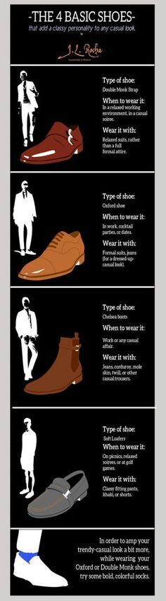 This is an interesting guide on wearing the adequate shoes with the right attire. - This is an interesting guide on wearing the adequate shoes with the right attire. This is an interesting guide on wearing the adequate shoes with the right attire. Gq Style, Men Style Tips, Mode Style, Style Men, Sport Style, Mens Style Guide, Woman Style, Sharp Dressed Man, Well Dressed Men