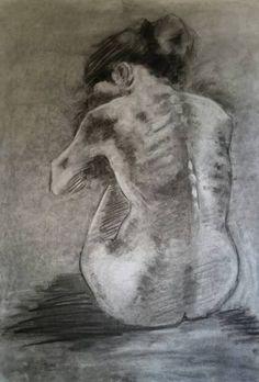 Super Drawing Woman Back Art Ideas Sad Drawings, Dark Art Drawings, Pencil Art Drawings, Art Drawings Sketches, Woman Drawing, Life Drawing, Figure Drawing, Back Drawing, Drawing Women