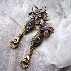 Under the Wisteria Arbor, micro mosaic earrings, hand earrings, handmade, victorian hand, metal flower, assemblage earrings, Anvil artifacts