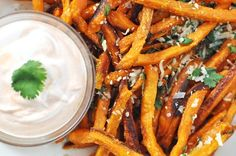 Baked Sweet Potato French Fries with Parmesan & Cilantro