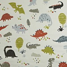 This modern style dinosaur fabric is from the Playtime collection, is perfect for children's curtains, window dressings and decorative accessories.