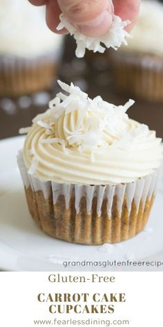 Everyone will love these homemade gluten free carrot cake cupcakes. Topped with a thick and creamy cream cheese frosting and shredded coconut. This easy dessert is perfect for Easter or anytime! Best Gluten Free Desserts, Gluten Free Carrot Cake, Gluten Free Cupcakes, Easy No Bake Desserts, Allergy Free Recipes, Gluten Free Baking, Homemade Carrot Cake, Homemade Snickers, Homemade Breads