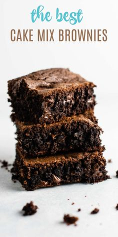 Brownies made using chocolate cake mix - these are so simple and so fast to make! Brownies made using chocolate cake mix - these are so simple and so fast to make! Recipe Using Chocolate Cake Mix, German Chocolate Cake Mix, Homemade Chocolate, Chocolate Desserts, Chocolate Brownies, Chocolate Cake Mix Cookies, Cake Cookies, Brownie Mix Recipes, Recipes Using Cake Mix