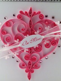 Quilled Heart Swirly Pink Paper Valentines Day Card on Etsy, Sold