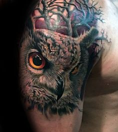 Guys Owl With Trees Realistic Upper Arm And Shoulder Tattoo