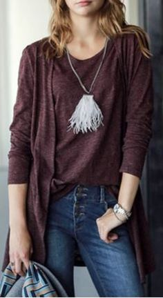 Looks I LOVE! Dusty Plum Fashionable Scoop Neck Tank Top and Collarless Long Sleeve Cardigan Twinset For Women #Fall2015 #Color #Trends #Raisin #Wine #Plum #Casual #Knit #Twinset #Fashion