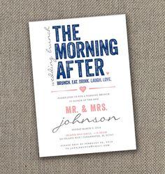 The Morning After - Wedding Brunch Invitation. Modern Wedding Brunch invites!