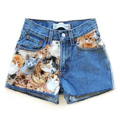 Pocketful Of Kitties for US$45.00 at Get High Waisted. you can have kitten sorts. kitten shorts with kitten pockets. kittens. KITTENS
