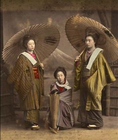 Three Geishas with Parasol, ca. 1890  Japan