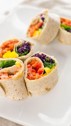 Veggie Rainbow Pinwheels ~ Healthy AF is part of Vegan tortilla - Prettiness all rolled up in a whole wheat tortilla Appetizers For A Crowd, Seafood Appetizers, Appetizer Recipes, Easter Recipes, Veggie Rolls, Veggie Wraps, Veggie Food, Vegetarian Recipes, Cooking Recipes